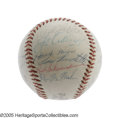 Autographs:Baseballs, 1958 Milwaukee Braves Team Signed Baseball. The National LeagueChamps matched Mickey Mantle's Yanks step for step all the ...