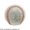 Autographs:Baseballs, 1973 New York Yankees Team Signed Baseball, PSA NM-MT+ 8.5. Fromthe same young Yankees fan that consigned the incredible T...