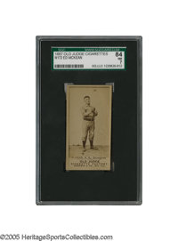 1887 Old Judge Cigarettes N172 Ed McKean SGC NM 84. The rookie shortstop of the lowly Cleveland Blues tosses a ball in t...