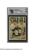 Baseball Cards:Singles (1950-1959), 1957 Topps Yankees' Power Hitters #407 GAI NM-MT 8. Two pinstripedHall of Famers for the price of one in this stellar card...