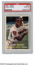 "Baseball Cards:Singles (1950-1959), 1957 Topps Hank Aaron #20 PSA Mint 9. Long a collector favorite forits ""error card"" status, as the right-handed Home Run K..."