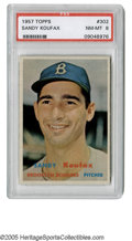 Baseball Cards:Singles (1950-1959), 1957 Topps Sandy Koufax #302 PSA NM-MT 8. The Brooklyn fans, likeSandy, were still smiling when this card was issued, but ...
