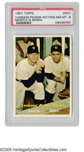 Baseball Cards:Singles (1950-1959), 1957 Topps Yankees Power Hitters Mantle & Berra #407 PSA NM-MT8. Two Yankee Hall of Famers for the price of one! One of t...