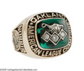 Baseball Collectibles:Others, 1990 Oakland Athletics A.L. Championship Ring. The genuine article,presented to star right-hander Mike Norris, who earned ...
