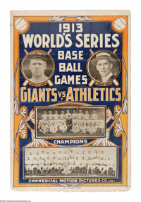 Magnificent 1913 World's Series Newsreel Large Poster from the Casey Stengel Collection. Arguably the crown jewel of the...