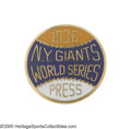 Baseball Collectibles:Others, 1936 New York Giants World Series Press Pin from the Casey StengelCollection. Though Casey had just completed his third se...