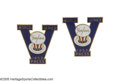 "Baseball Collectibles:Others, 1953 World Series Press Pin Cufflinks from the Casey StengelCollection. The letter ""V"" in the design of the 1953 press pin..."
