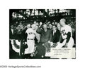 Baseball Collectibles:Photos, 1950's Presidential First Pitch Photographs Lot of 6 from the CaseyStengel Collection. Casey gets up close and personal wi...