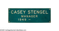 Baseball Collectibles:Others, 1950's Casey Stengel Sign from Locker Door at Yankee Stadium. Thisgreen and white laminated fiberboard composite sign was ...