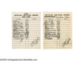 "Autographs:Others, 1960 New York Yankees Line-Up Cards Lot of 2 from the Casey StengelCollection. Despite the year ""1959"" appearing at the to..."