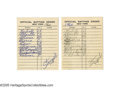 Autographs:Others, 1960 New York Yankees Line-Up Cards Lot of 2 from the Casey StengelCollection. Pair of line-up cards handwritten and signe...