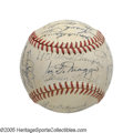 "Autographs:Baseballs, 1951 New York Yankees Team Signed Baseball, PSA NM 7 from the Casey Stengel Collection. Though Stengel has penned ""1950 Wor..."