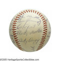 Autographs:Baseballs, 1953 New York Yankees Team Signed Baseball from the Casey StengelCollection. The Bronx Bombers take their consecutive Worl...