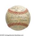 Autographs:Baseballs, Incredible Old Timers Signed Baseball with Mantle, DiMaggio, Maris& More from the Casey Stengel Collection. If you conside...
