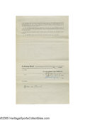 """Autographs:Others, 1915 Muddy Ruel American League Player's Contract, Rookie Season,from the Herold """"Muddy"""" Ruel Collection. The nineteen-yea..."""
