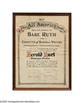 "Autographs:Others, 1927 Muddy Ruel ""The All America Team"" Presentational Certificate Signed by Babe Ruth from the Herold ""Muddy"" Ruel Collection...."