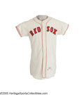Baseball Collectibles:Uniforms, 1960 Boston Red Sox Game Worn Jersey, Number 30. Great catcher'swear is particularly evident where the chest protector str...