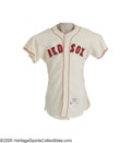 Baseball Collectibles:Uniforms, 1962 Boston Red Sox Game Worn Jersey, Number 33. Perhaps best remembered for pitching eight innings for the New York Giants...