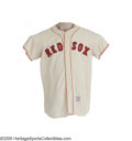 Baseball Collectibles:Uniforms, 1963 Boston Red Sox Game Worn Jersey, Number 33. The formerCincinnati Reds catcher Al Lakeman suited up in this home white...
