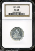 Seated Quarters: , 1876 25C MS63 NGC. PCGS Population (102/137). NGC Census: (85/124).Mintage: 17,817,150. Numismedia Wsl. Price: $392.(#5501...