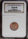 Lincoln Cents: , 1972/72 1C Doubled Die MS66 Red and Brown NGC. PCGS Population(4/0). NGC Census: (16/0). Mintage: 75,000. Numismedia Wsl. ...