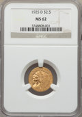 1925-D $2 1/2 MS62 NGC. NGC Census: (6754/9336). PCGS Population: (4066/6989). MS62. Mintage 578,000. ...(PCGS# 7949)