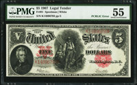 Fr. 91 $5 1907 Legal Tender PMG About Uncirculated 55