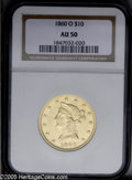 Liberty Eagles: , 1860-O $10 AU50 NGC. PCGS Population (20/18). NGC Census: (0/0).Mintage: 11,100. Numismedia Wsl. Price: $1,775.(#98631)...