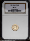 Commemorative Gold: , 1922 G$1 Grant no Star MS61 NGC. PCGS Population (17/1698). NGCCensus: (17/859). Mintage: 5,000. Numismedia Wsl. Price: $1...