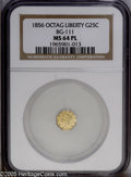 California Fractional Gold: , 1856 25C Liberty Octagonal 25 Cents, BG-111, R.3, MS64 NGC. PCGSPopulation (32/10). (#10380)...