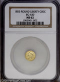 California Fractional Gold: , 1853 50C Liberty Round 50 Cents, BG-430, R.3, MS62 NGC. PCGSPopulation (52/58). (#10466)...
