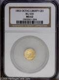 California Fractional Gold: , 1853 $1 Liberty Octagonal 1 Dollar, BG-530, R.2, MS62 NGC. PCGSPopulation (36/13). (#10507)...