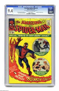 The Amazing Spider-Man #8 (Marvel, 1964) CGC NM 9.4 Cream to off-white pages. Spidey clashes with the Fantastic Four's r...