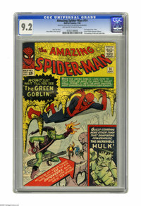 The Amazing Spider-Man #14 (Marvel, 1964) CGC NM- 9.2 Off-white to white pages. Here's the first appearance of the Green...