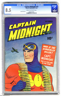 Captain Midnight #15 (Fawcett, 1943) CGC VF+ 8.5 Cream to off-white pages. Leonard Frank art. Overstreet 2005 VF 8.0 val...