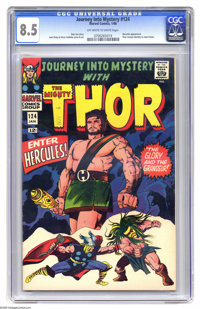 Journey Into Mystery #124 (Marvel, 1966) CGC VF+ 8.5 Off-white to white pages. Thor reveals his secret identity to Jane...