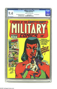Military Comics #14 (Quality, 1942) CGC NM 9.4 Cream to off-white pages. While this series' covers understandably tended...