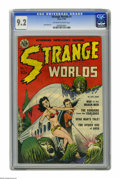 "Golden Age (1938-1955):Science Fiction, Strange Worlds #1 (Avon, 1950) CGC NM- 9.2 Off-white to whitepages. The ""Crom the Barbarian"" feature in this issue has been..."