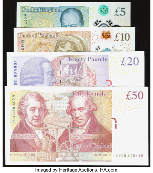 Great Britain Bank Of England 5 10 20 50 2006 2016 Lot 81629 Heritage Auctions