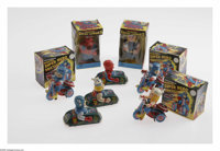 Marvel Mechanical Toys Group (Marx Toys, 1968). This eight-item lot includes two Mechanical Marvel Super-Heroes (Spider-...