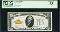 Small Size:Gold Certificates, Fr. 2400 $10 1928 Gold Certificate. PCGS About New 53.. ...
