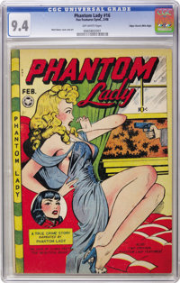 Phantom Lady #16 Mile High pedigree (Fox Features Syndicate, 1948) CGC NM 9.4 Off-white pages. Matt Baker turned on the...