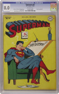 Golden Age (1938-1955):Superhero, Superman #41 (DC, 1946) CGC VF 8.0 Off-white pages. The Prankster's back to bedevil Superman once again in this issue. Also,...
