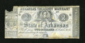 Obsoletes By State:Arkansas, (Little Rock, AR)- Arkansas Treasury Warrant $2 July 1, 186? Cr. 38. This blue paper note with blue overprint on the back ha...