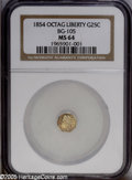 California Fractional Gold: , 1854 25C Liberty Octagonal 25 Cents, BG-105, R.3, MS64 NGC. PCGSPopulation (61/22). ...