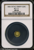 California Fractional Gold: , 1856 25C Liberty Octagonal 25 Cents, BG-111, R.3, MS64 NGC. Pop: (P33/10, N 0/0)....