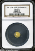 California Fractional Gold: , 1872/1 25C Indian Round 25 Cents, BG-870, R.3, MS65 NGC. PCGSPopulation (13/0). ...