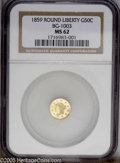 California Fractional Gold: , 1859 50C Liberty Round 50 Cents, BG-1003, High R.6, MS62 NGC. PCGSPopulation (3/3). ...