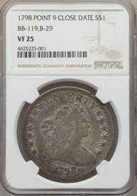 1798 $1 Large Eagle, Pointed 9, Close Date, B-29, BB-119, R.4, VF25 NGC....(PCGS# 40036)