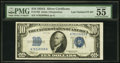 Small Size:Silver Certificates, Fr. 1702 $10 1934A Silver Certificate. Late Finished Face Plate Number 87. PMG About Uncirculated 55 EPQ.. ...